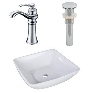 "Ensemble de vasque, 16,5"" x 30"", blanc"