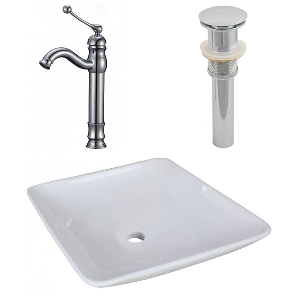 "Ensemble de vasque, 16,75"" x 30"", blanc"