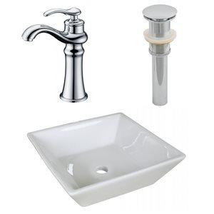 "Ensemble de vasque, 15,75"" x 30"", blanc"