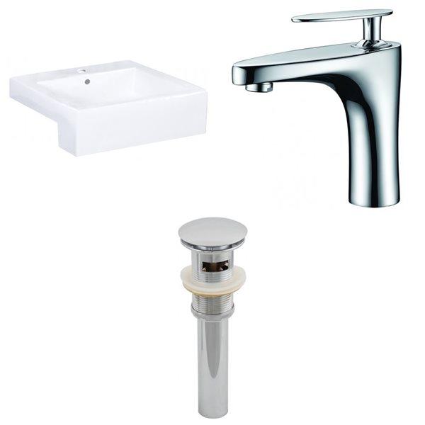 "Ens. vasque semi-encastrée, 20,25"" x 29,5"", blanc"