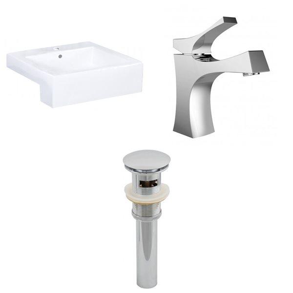 "Ens. vasque semi-encastrée, 20,25"" x 30"", blanc"
