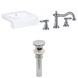 "Ens. vasque semi-encastrée, 20,25"" x 30,5"", blanc"