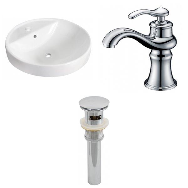 "Ens. de vasque encastrée, 18,25"" x 35,5"", blanc"