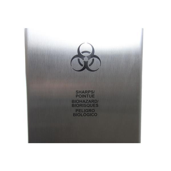 Réceptacle de déchets biomédicaux, acier inoxydable
