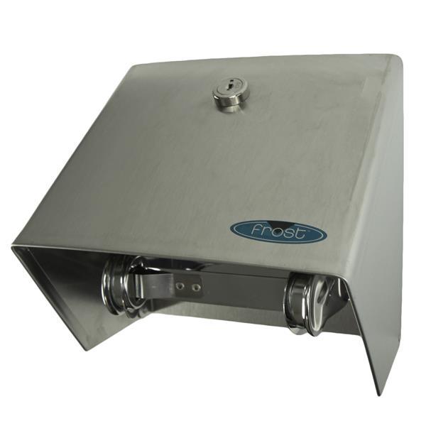Distributeur de papier hygiénique avec couvercle, acier inox