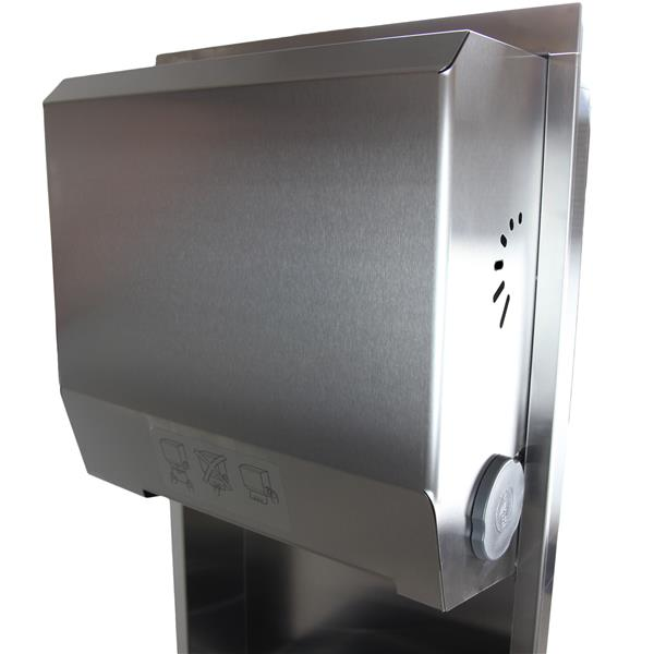 Distributeur de serviettes en papier et poubelle, acier inox