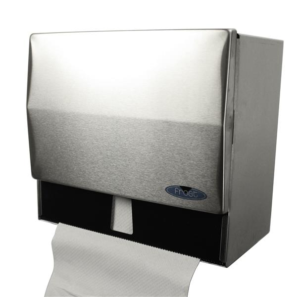 Distributeurs d'essuie-mains à plis simples/rouleau, inox