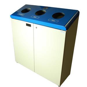 Station de recyclage autoportant, gris et bleu