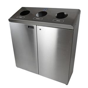 Recycling Station Floor Standing - Stainless Steel