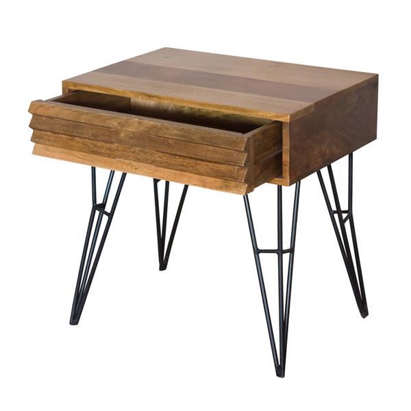 """Table de chevet Shutter, 23"""" x 23"""", bois, naturel"""