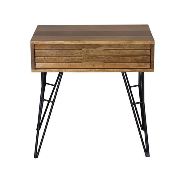 "CDI Furniture Shutter Nightstand - 23"" x 23"" - Wood - Natural"