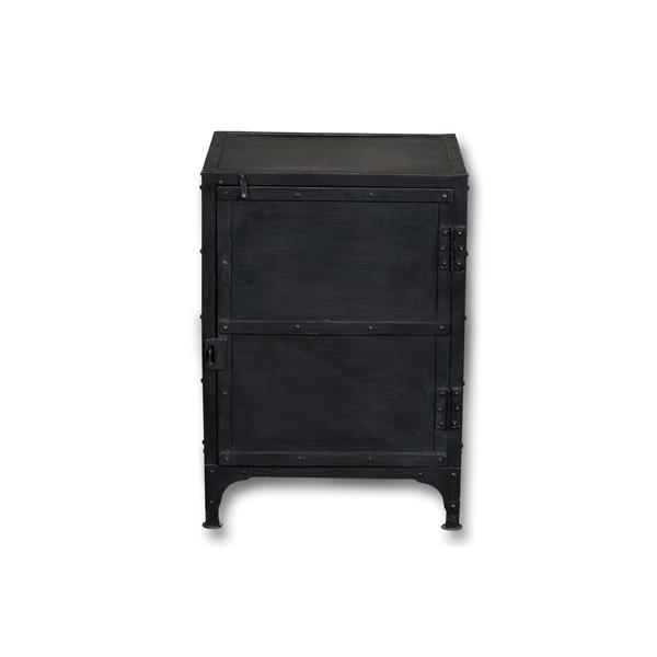 """Table de chevet Industrial, 17"""" x 27"""", bois, noir"""