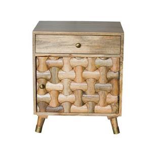 """Table de chevet Clio, 20"""" x 26"""", bois, miel"""