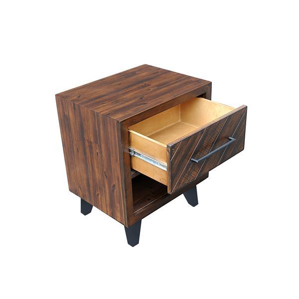 """Table de chevet Avalon, 22"""" x 26"""", bois, tabac"""