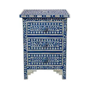 "Table de chevet Aida, 16"" x 24"", bois, bleu"