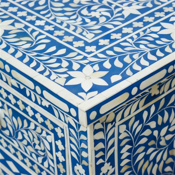 """Coffre Aida, 19"""" x 35"""", bois, bleu"""