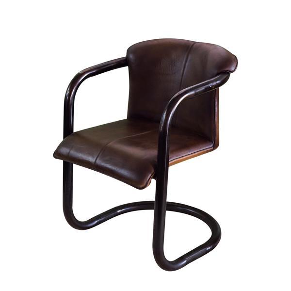 "Chaise Nevis, 24"" x 35"", cuir, noir"