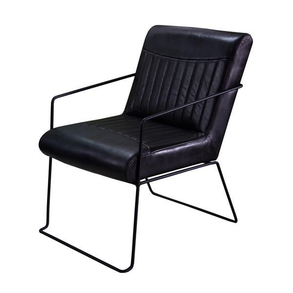 "Chaise Nevis, 28"" x 31"", cuir, noir"