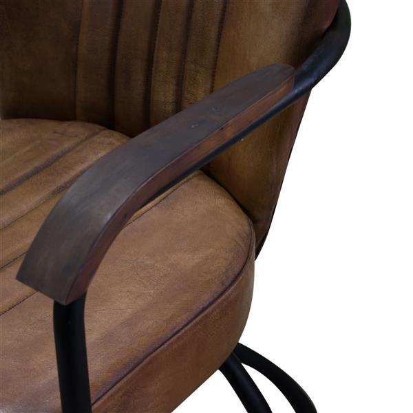 """Chaise Nevis, 26"""" x 34"""", cuir, brun"""