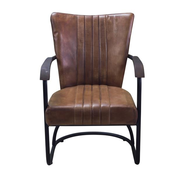 """Nevis  Chair - 26"""" x 34"""" - Leather - Brown"""