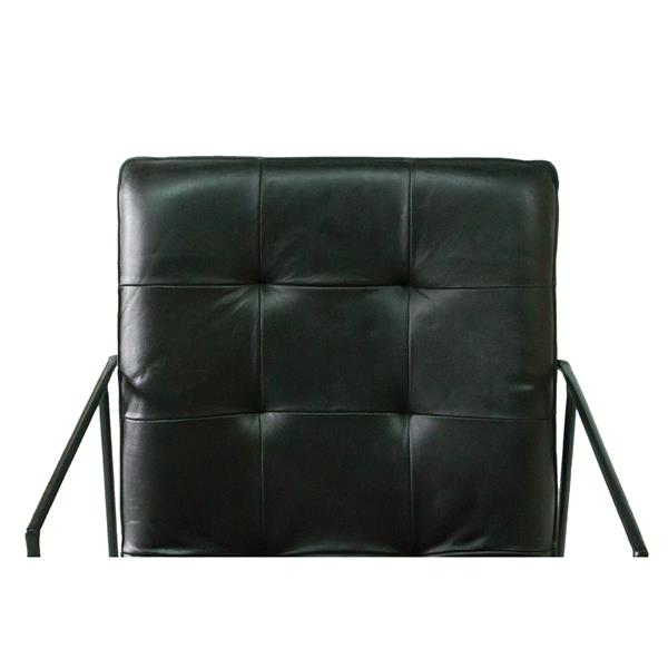 "Chaise Nevis, 22,8"" x 35"", cuir, noir"