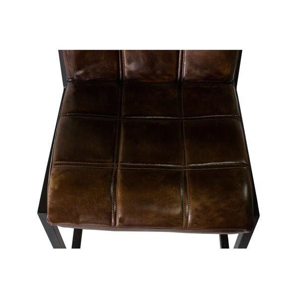 """Chaise Nevis, 24,5"""" x 34"""", cuir, brun"""