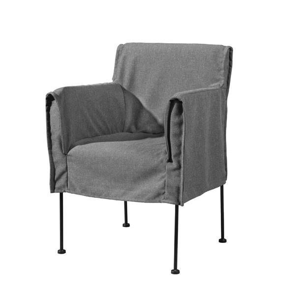 "Chaise Capri, 20"" x 33"", gris"