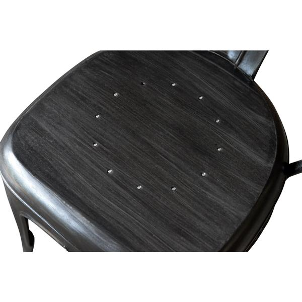 """Chaise Industrial, 16"""" x 37"""", métal, noir, ens. de 4"""