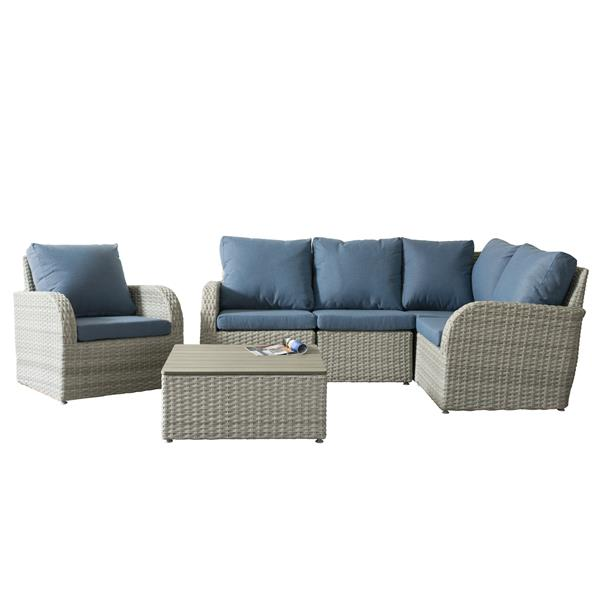 Wicker Patio Set - 6  Pieces - Blue