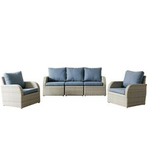 CorLiving Wicker Patio Set - 5 Pieces - Blue
