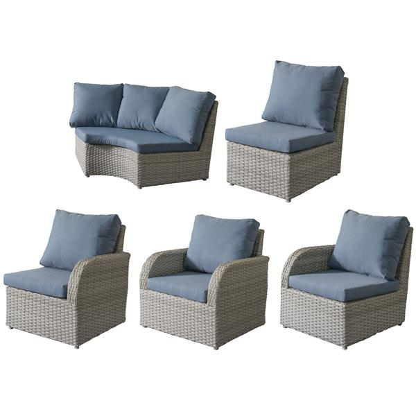 CorLiving Wicker Patio Set - 5 Pieces - Blue