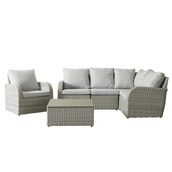 Wicker Patio Set - 6  Pieces - Grey