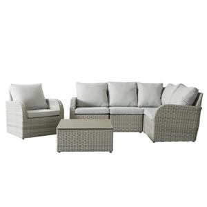 Wicker Patio Set - 6  Pieces - Grey
