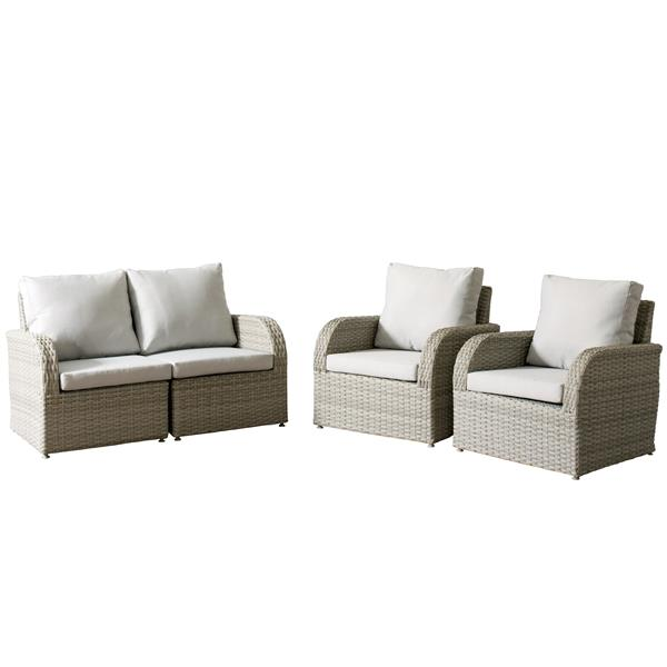 CorLiving Wicker Patio Set - 4 Pieces - Grey