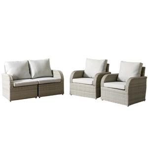 Wicker Patio Set - 4 Pieces - Grey