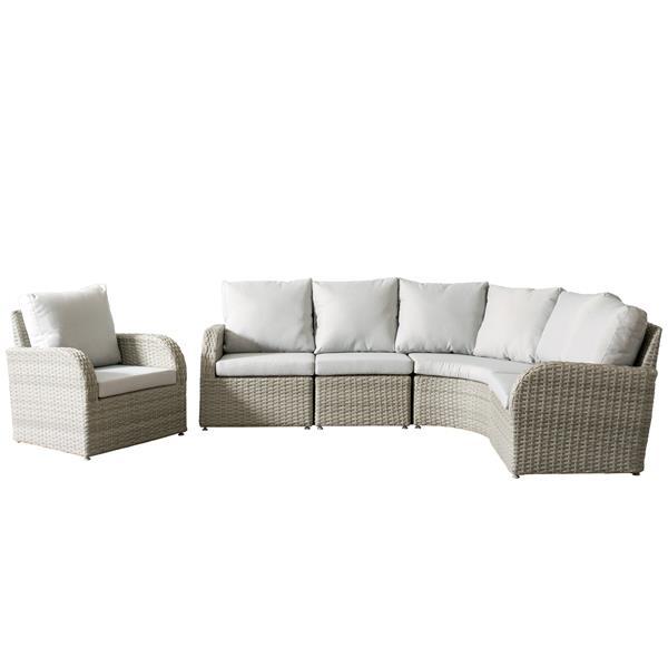 CorLiving Wicker Patio Set - 5 Pieces - Grey