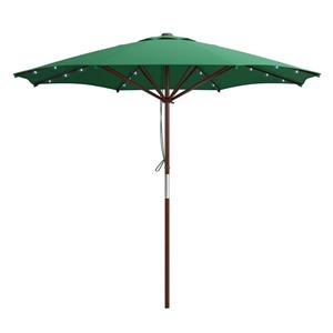 Patio Umbrella with Solar Power LED Lights - Green