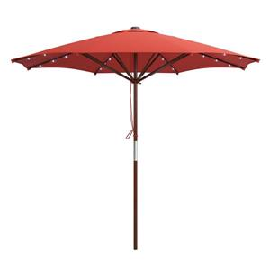 Red Patio Umbrella with Solar Power LED Lights