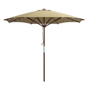 Taupe Patio Umbrella with Solar Power LED Lights