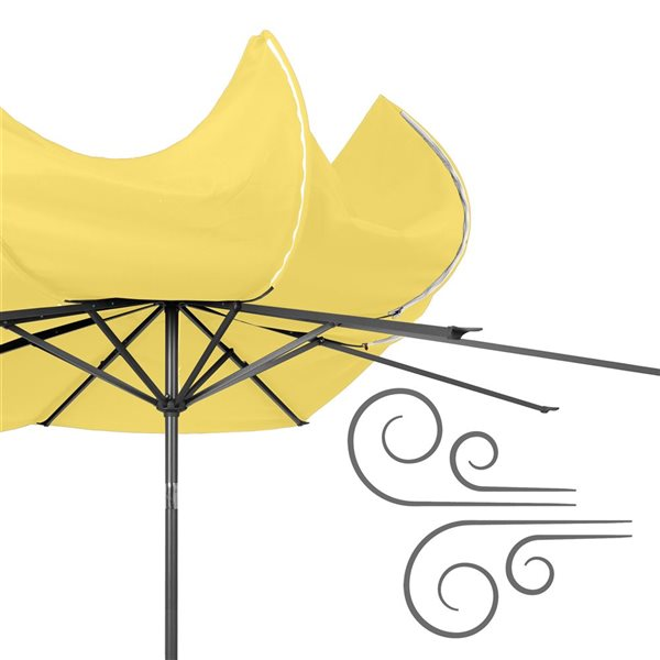 Parasol inclinable résistant aux rayons UV et au vent, jaune