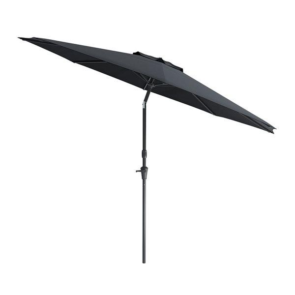 Parasol inclinable résistant aux rayons UV et au vent, noir