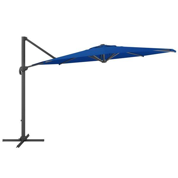 Parasol excentré bleu cobalt de luxe pour la terrasse