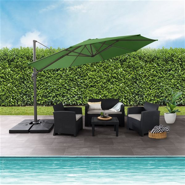CorLiving Deluxe Offset Patio Umbrella - Forest Green