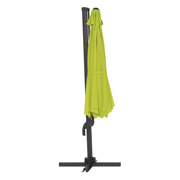 Parasol excentré vert lime de luxe pour la terrasse