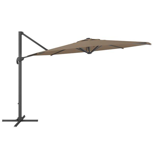 Parasol excentré brun sable de luxe pour la terrasse