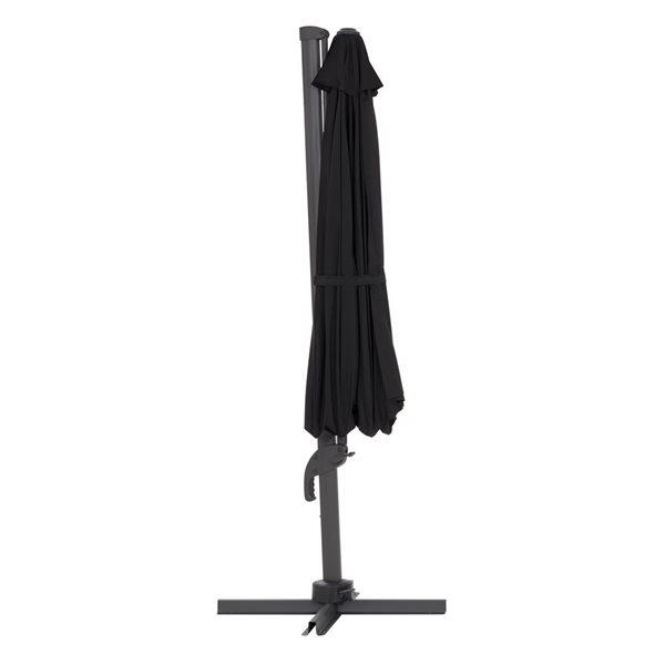 Parasol excentré noir de luxe pour la terrasse