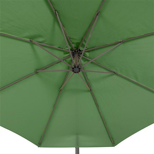 Parasol excentré forêt verte pour la terrasse