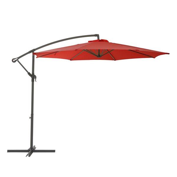 Parasol excentré rouge cramoisi pour la terrasse