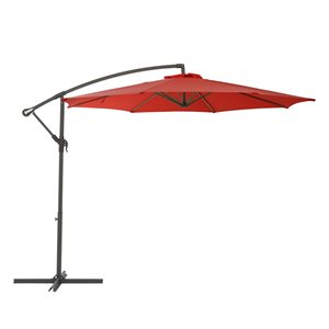CorLiving Offset Patio Umbrella - Crimson Red