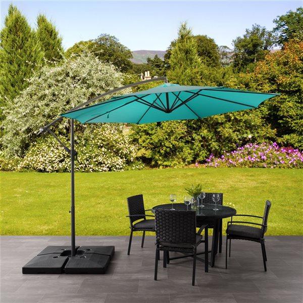 Parasol excentré bleu turquoise pour la terrasse
